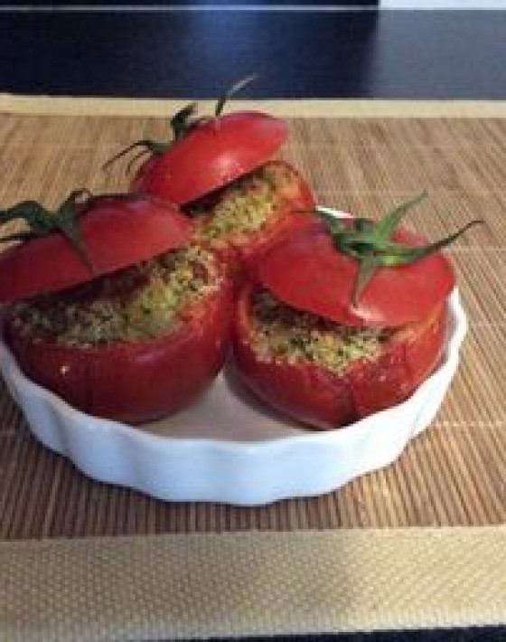 Baked Feta Tomatoes with a parsley, garlic and crumb filling