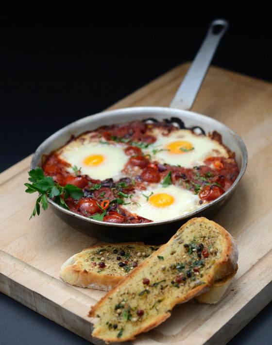 Moroccan baked eggs with Za'atar toast