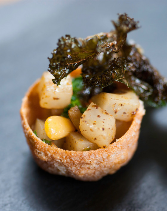 Buttered jerusalem artichoke and kale cups