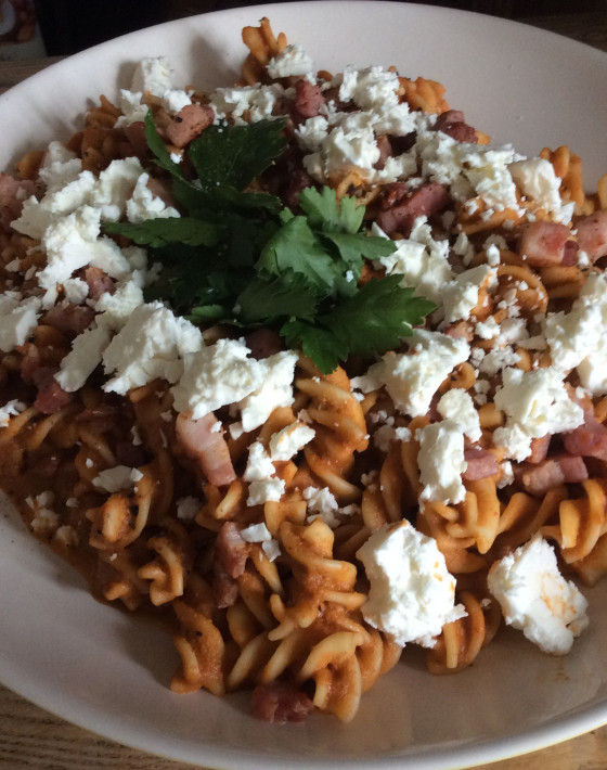 Roasted pepper and chilli pasta with smoked panchetta
