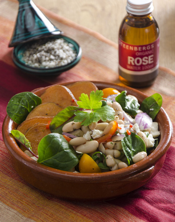 Warm sweet potato and spinach persian salad with rose water