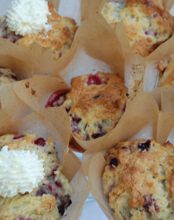 Wheat Free Delicious Summer Fruit Muffins with Rose Cream