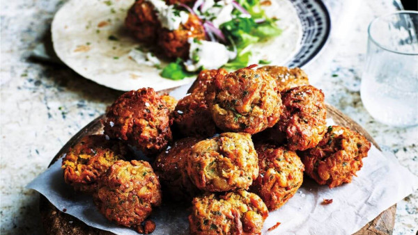 Chickpea & Vegetable Koftas with Tahini Sauce