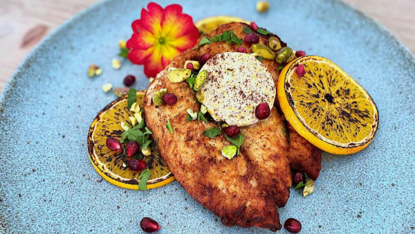 Crispy Butterfly Chicken with Orange, Saffron & Sumac Butter