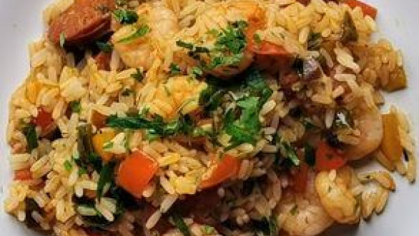 Quick Spanish Prawn and Chorizo Rice
