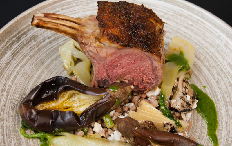 Chermoula lamb with spelt, aubergine, fennel and salsa verde