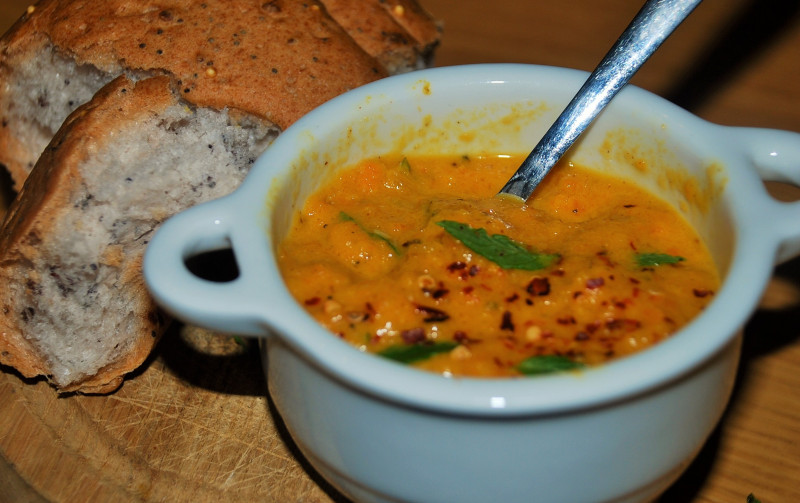 Roast Carrot Soup with Chilli and Almonds