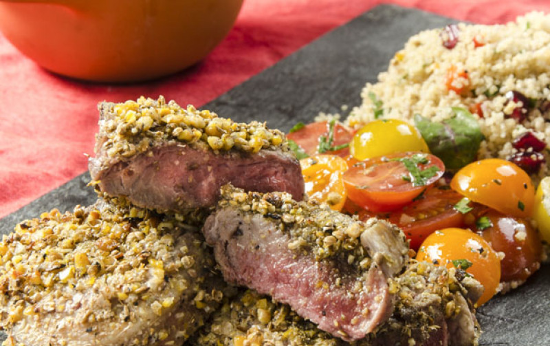 Dukkah Lamb Chops, vegetable cous cous and tomato salad